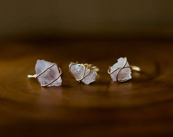 Raw Rose Quartz Ring – Wire Wrapped Crystal – Rose Quartz Jewelry – Healing Crystal – Free Spirit - Boho - Bohemian - Gift - Pine and Blush