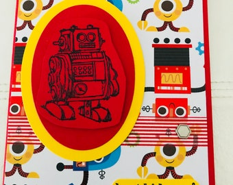 Robot birthday for kids in red, yellow and black