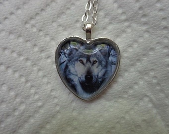 Wolf Photo Heart Necklace