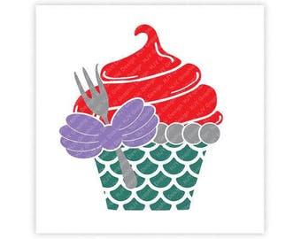 Disney, Little Mermaid, Ariel, Dinglehopper, Fork, Cupcake, Birthday, Digital, Download, TShirt, Cut File, SVG, Iron on, Transfer
