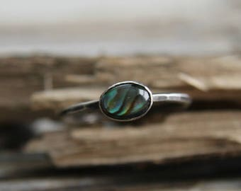 Silver Abalone Ring, Shell Ring, Sterling Silver Abalone Shell Ring, Abalone Shell Jewelry, Stack Ring, Sterling Silver Ring, Metalwork ring