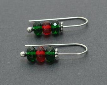 Christmas Earrings, Xmas Earrings, Sterling Silver Hoops, 20 Gauge, Ear wires, Red and Green