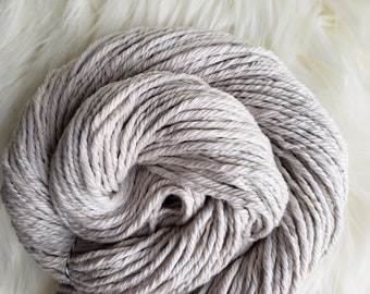 Naturally Dyed Cotton, Bulky Yarn, Logwood Botanical Dye, Gray Neutral, Vegan Yarn