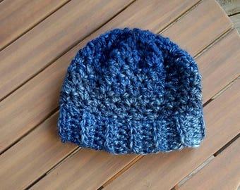 Blue Crochet Chunky Beanie Handmade in the USA, Ready to Ship