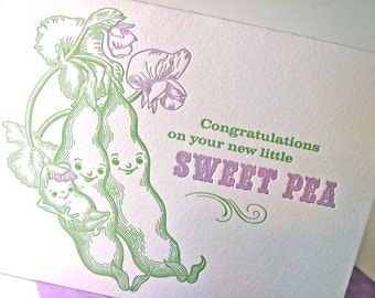 New baby card, sweet pea, letterpress