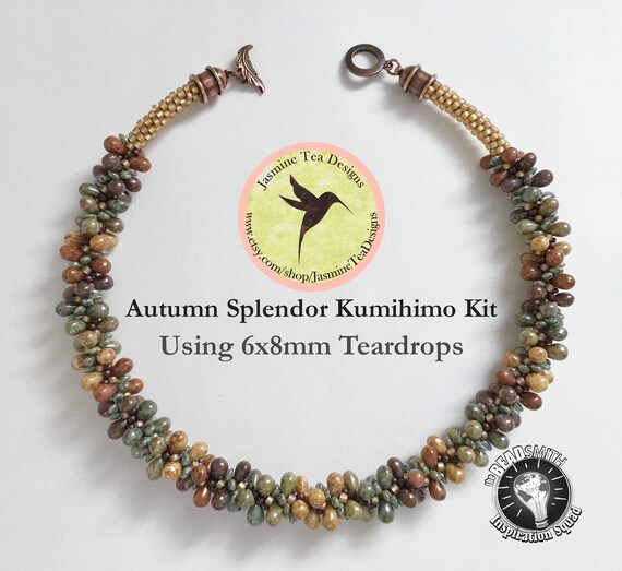 Autumn Splendor Using 6x8mm Five Color Luster Teardrop Beads Is A Fully Beaded Kumihimo Necklace Kit With Loading Instructions, Kumihimo Kit