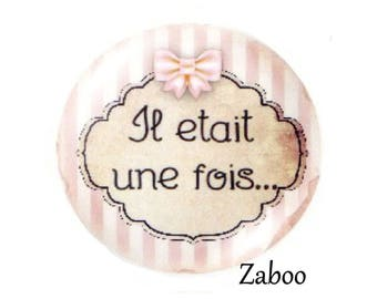 4 cabochons 16mm glass, once upon a time..., pink tone