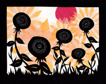 Sunflowers At Sunset - 8 x 10 inch Cut Paper Art Print