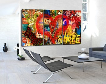 Original Art Painting Wall Art Canvas Painting Mixed Media Collage Art Living Room Wall Decor Pop Art Painting Made To Order Pop Art