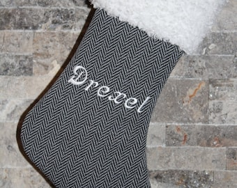 Personalized Herringbone Black Gray White Fur Cuff Christmas stocking