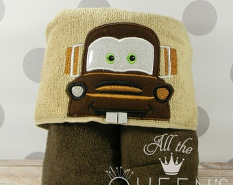 Kid's Hooded Towel - Tow Truck Mater Hooded Towel - Character inspired Cars Mater Towel for Bath, Beach, or Swimming Pool