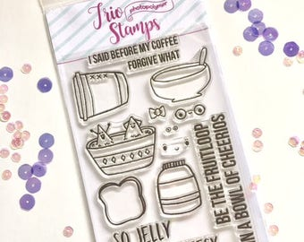 So Jelly Clear Stamp set  clear photopolymer 4x6 stamp set Brand New Card Making, Stamping, Coloring