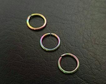 "20g 3/8"" (10mm) Rainbow Seamless Septum Conch Daith Nose Ring Hoop Eyebrow Earring Nipple Rings 316L Steel Jewelry"