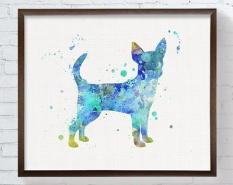 Blue Chihuahua Painting - Chihuahua Art Print - Watercolor Chihuahua - Dog Art Print - Dog Wall Art - Dog Wall Decor, Dog Lover Gift,  Art