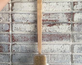 LONG HANDLE BRUSH {16 inch Long Wooden Handle & Removable Boar Bristle Head}