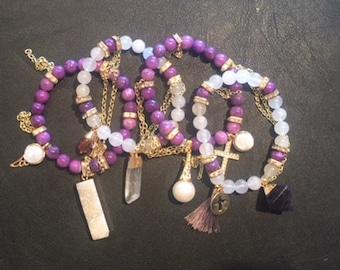 Purple and Gold Druzy Gemstone Pearl Bracelet Stack