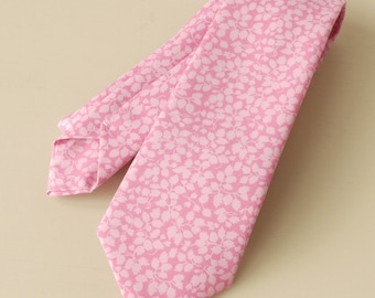 Pink tie hand-stitched from Liberty's Glenjade pink - Liberty print tie - pink wedding tie - pink necktie - Liberty tie - wedding necktie