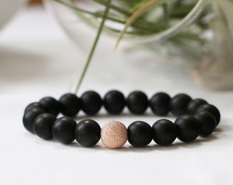 Matte Black Obsidian Stacker Bracelet with Stardust Feature Bead - Sterling Silver, 14k Gold Filled or 14k Rose Gold Filled