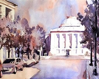 Plein air watercolor painting of Capital of downtown Raleigh, NC.  Raleigh paintning.  Raleigh watercolor.  Raleigh art.  Raleigh photograph