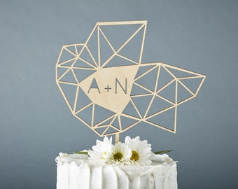 Wedding Cake Topper Geometric Custom - Unique Lasercut Birch