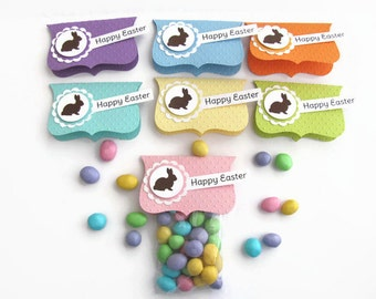 Easter Treat Bags and Toppers - Kids Classroom,  Party Favors, Happy Easter,Treat Bag Toppers, Embossed, Candy Bags, M & M Bags, Spring