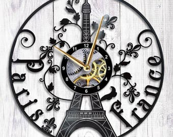 Paris France Vinyl Clock