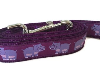 Dog Leash, Hippos, lead, 1 inch wide, 1 foot, 4 foot, or 6 foot