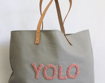 """Canvas Tote ... """"YOLO"""" GRAY tote bag with PERSONALIZED label"""