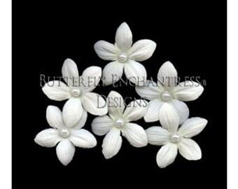 6 Pearl Creamy White Stephanotis Flower Bridal Hair Pins