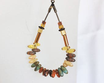 Earrings ethnic, brass drop and grain of rice, amber and jade glass beads