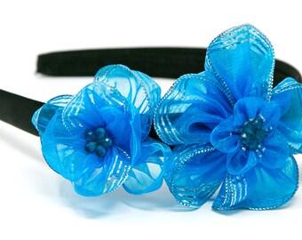 Handmade Blue Flowers Hair Accessories Headband Hair band Bridal Head wear