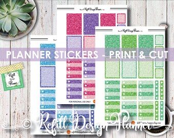 Planner Stickers Printable, Banner, Print & cut, PDF, Png, ScanNCut, Silhouette, Cricut, Happy planner, Stickers Agenda, Ring Planner Agenda