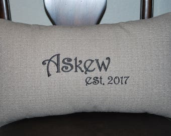 Embroidered pillow, throw pillow, anniversary gift,, personalized pillow, custom  pillow,