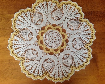 Hand crochet round doily, tablecloth,center piece. lace dolly