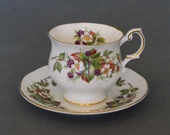 Vintage Rosina Wildflowers Bone China Tea Cup and Saucer - Rosina China Company - 1875 Queen's Fine Bone China - Made in England