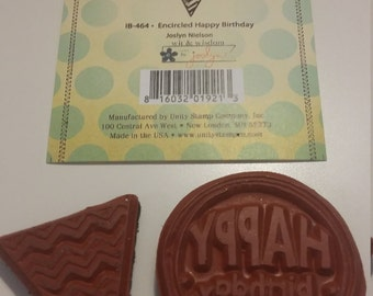 Unity Stamp Co.  Encircled Happy Birthday rubber stamp set, gently used
