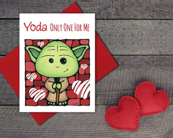 Yoda Valentines Greeting Card - Cute Star Wars Card - Cute Card For Him - Thinking of You Greeting Card - Pun Card - Sci-fi Movie Card