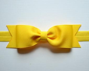 Yellow Bow Headband. Yellow Baby Bow Headband. Yellow Baby Headband. Baby Hair Accessories. Girls Hair Accessories. Yellow Headband