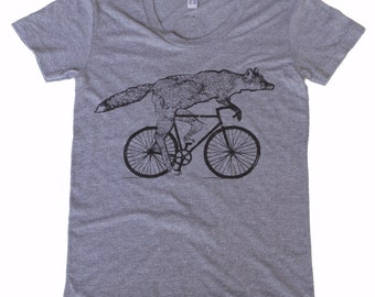 Fox on a bicycle- Womens T Shirt, Ladies Tee, Tri Blend Tee, Handmade graphic tee, sizes s-xL