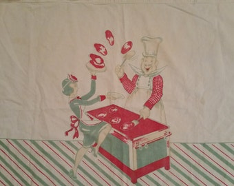 1940's Textile Vintage Cotton Wall Hanging Whimsical Cooking Chef and Waitress Design Pancakes Theme 1940's Kitchen Decor Window Swag