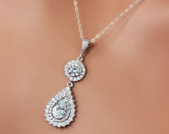 Crystal Drop Wedding Necklace, Cubic Zirconia Tear Drop Bridal Necklace, Wedding Crystal Pendant, Bridesmaids Pendant, Bridal Pendant