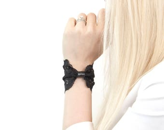 Black Lace Wrist Cuff Black Bracelet Bow Bracelet, Bowtie Black Lace Bow Bracelet Wristband Gift for Her Wrist Tattoo Cover Up Wrist Covers