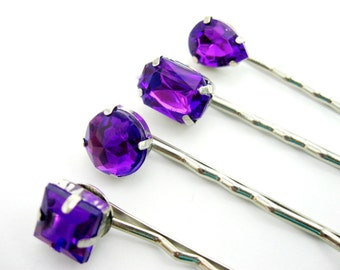 Rhinestone Bobby Pins, Bridal Hair Pins, Purple Hair Pins, Hair Jewel, Wedding, Bridesmaid Gift