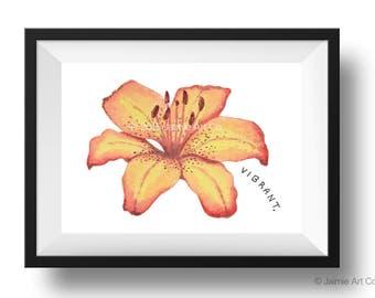 Tiger Lily Art Print, Floral Art, Watercolor Illustration, Childrens Art, Nursery Wall Art, Kids Wall Art, Wall Decor, Frameable Art