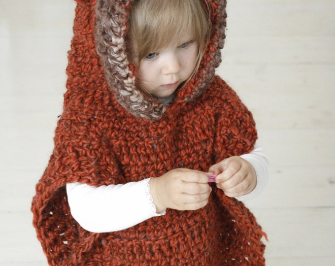 CROCHET PATTERN fox hooded chunky poncho Max (toddler/child/adult sizes)