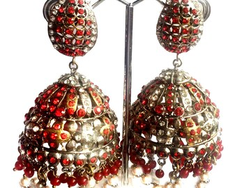 Red & Gold Jhumka Earrings,Large Dome style Earrings Jhumkas,Silver gold Jhumka earrings,PEARL JHUMKA EARRINGS by Taneesi Xj769R