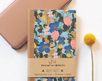 Telephone book , address phone book . Illustration Princesse aux bidouilles . Botanical, flowers .