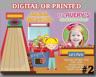 Arcade invitations Etsy