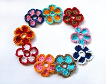 Crochet Flowers Multicolor Set 9 pcs Crochet Appliques for Crafts Decor Crochet Flower Crochet Applique Scrapbooking Flower Embellishments