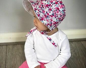 Baby Bonnet, Summer Bonnet, Sun Hat, Vintage Bonnet, Floral Bonnet,